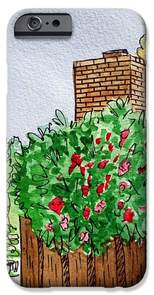 Chimney iPhone Cases - Behind The Fence Sketchbook Project Down My Street iPhone Case by Irina Sztukowski