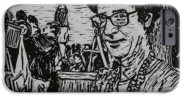 Lino Drawings iPhone Cases - Behind the Parade iPhone Case by William Cauthern