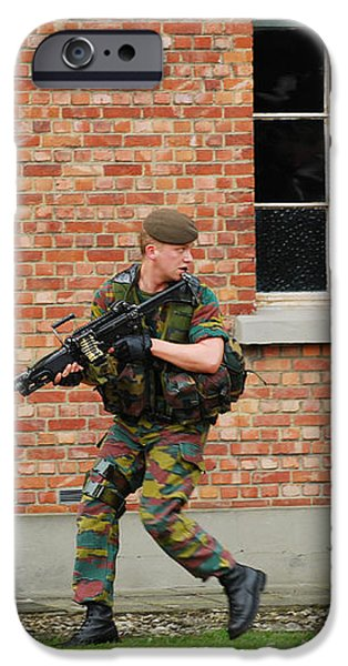 Belgian Infantrists Under Attack iPhone Case by Luc De Jaeger