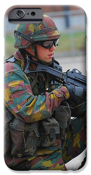 Belgian Infantry Soldiers In Training iPhone Case by Luc De Jaeger