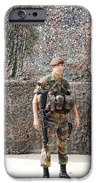 Belgian Soldier On Guard iPhone Case by Luc De Jaeger