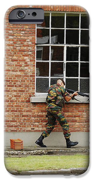 Belgian Soldiers On Patrol iPhone Case by Luc De Jaeger