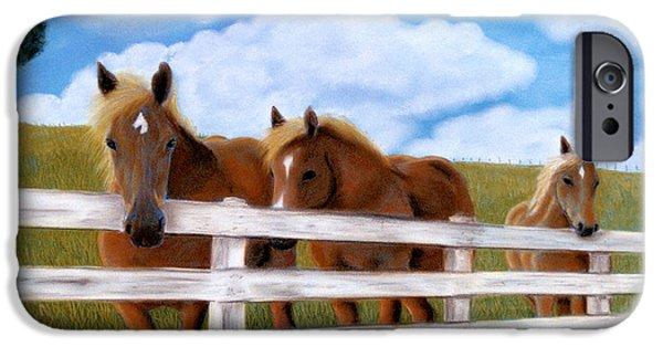 Farm Landscape Pastels iPhone Cases - Belgians at pasture iPhone Case by Jan Amiss