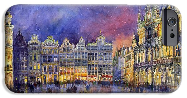 Watercolour Paintings iPhone Cases - Belgium Brussel Grand Place Grote Markt iPhone Case by Yuriy  Shevchuk