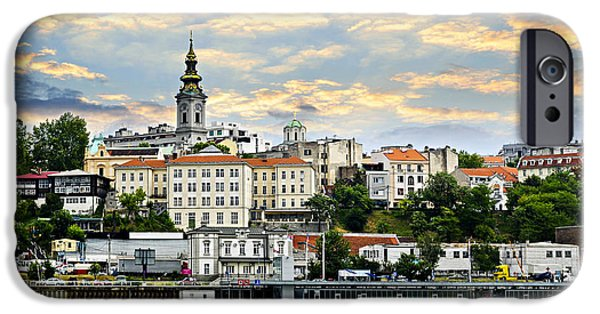 Basilica iPhone Cases - Belgrade cityscape on Danube iPhone Case by Elena Elisseeva