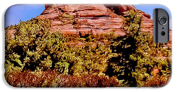 Oak Creek iPhone Cases - Bell Rock Vortex Painting iPhone Case by  Bob and Nadine Johnston