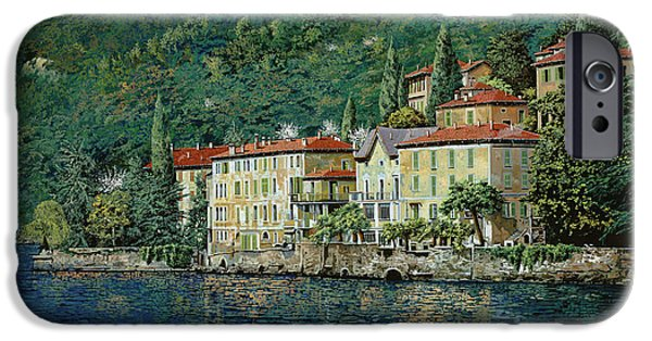 Oil Paintings iPhone Cases - Bellano on Lake Como iPhone Case by Guido Borelli