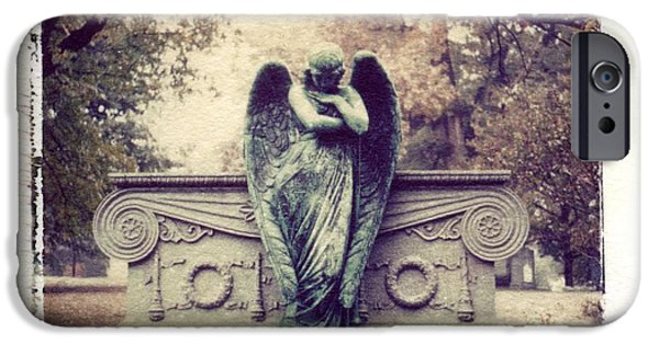 Mourn iPhone Cases - Bellefontaine Angel Polaroid transfer iPhone Case by Jane Linders