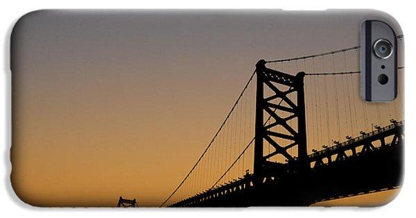 Franklin iPhone Cases - Ben Franklin Bridge Sunrise iPhone Case by Bill Cannon