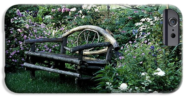 Decorative Benches iPhone Cases - Bench In Garden iPhone Case by David Chapman