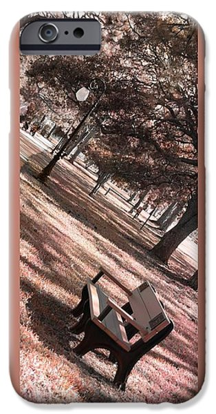 Bench in the Park Triptych  iPhone Case by Susanne Van Hulst