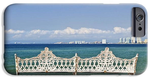 Bench iPhone Cases - Bench on Malecon in Puerto Vallarta iPhone Case by Elena Elisseeva