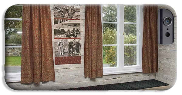 Log Cabin Interiors iPhone Cases - Bench Seat In Whitewashed Room iPhone Case by Jaak Nilson