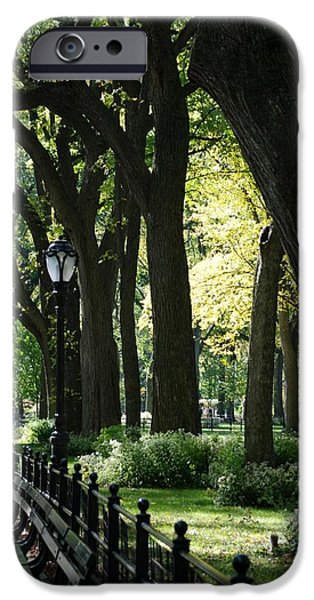 BENCHES TREES and LAMPS iPhone Case by ROB HANS