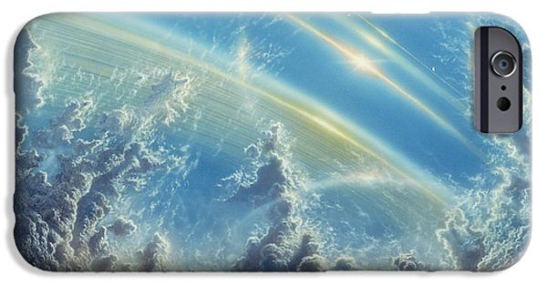 Planet Paintings iPhone Cases - Beneath Saturns Rings iPhone Case by Don Dixon