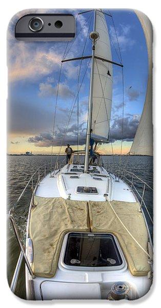 Sailing iPhone Cases - Beneteau Sailboat Sailing Sunset iPhone Case by Dustin K Ryan