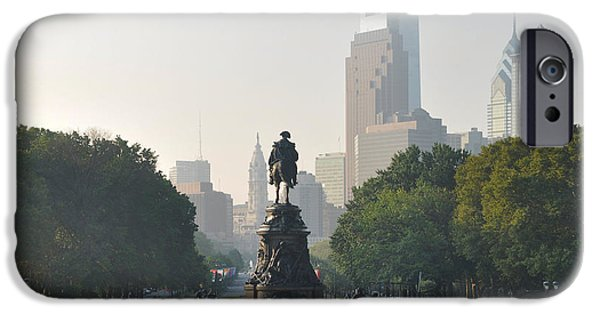 Franklin iPhone Cases - Benjamin Franklin Parkway iPhone Case by Bill Cannon