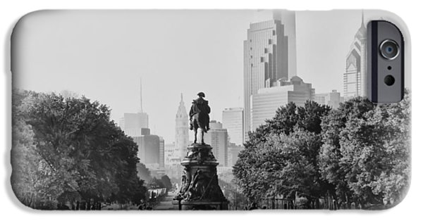 Franklin iPhone Cases - Benjamin Franklin Parkway in Black and White iPhone Case by Bill Cannon