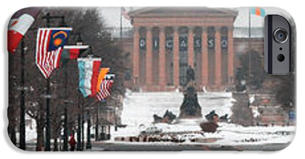Franklin iPhone Cases - Benjamin Franklin Parkway Panorama iPhone Case by Bill Cannon