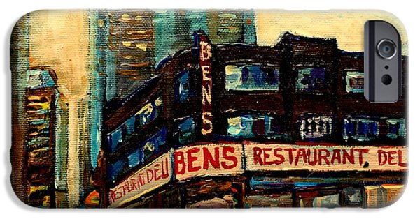 Montreal Land Marks Paintings iPhone Cases - Bens Restaurant Deli iPhone Case by Carole Spandau