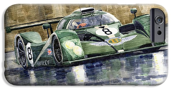Racing iPhone Cases - Bentley Prototype EXP Speed 8 Le Mans racer car 2001 iPhone Case by Yuriy  Shevchuk