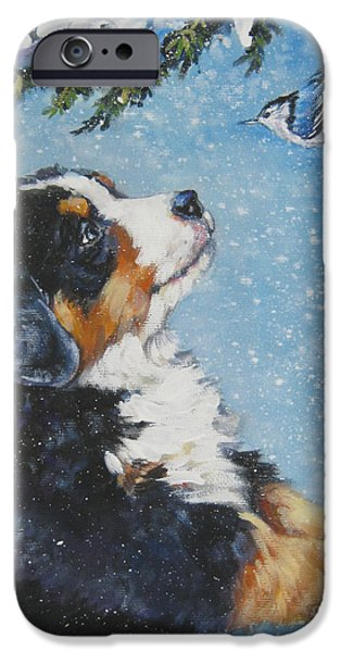 Dogs iPhone Cases - bernese Mountain Dog puppy and nuthatch iPhone Case by L A Shepard