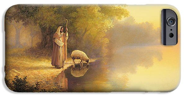 Lake iPhone Cases - Beside Still Waters iPhone Case by Greg Olsen