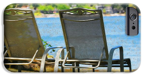 Lawn Chair iPhone Cases - Best seats on the Island iPhone Case by Cheryl Young