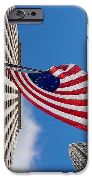 Betsy Ross iPhone Cases - Betsy Ross Flag in Chicago iPhone Case by Semmick Photo