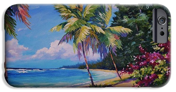 Cuba iPhone Cases - Between the Palms 20x16 iPhone Case by John Clark