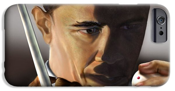 Barack Obama iPhone Cases - Beyond Sharky Waters iPhone Case by Reggie Duffie