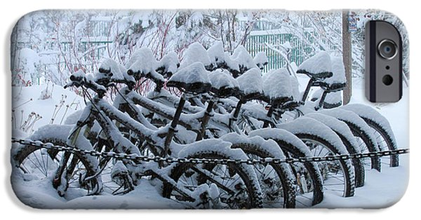 Wintertime iPhone Cases - Bicycles In The Snow iPhone Case by Heidi Smith