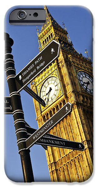Sign iPhone Cases - Big Ben clock tower iPhone Case by Elena Elisseeva