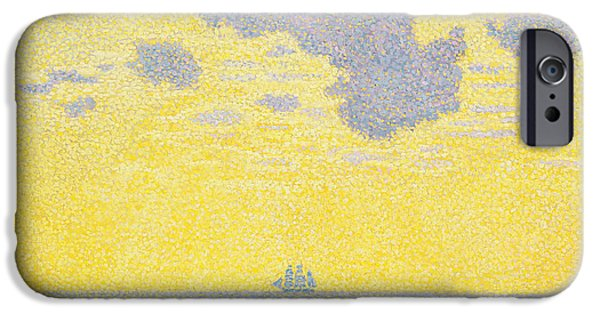 Pirate Ship iPhone Cases - Big Clouds iPhone Case by Theo van Rysselberghe