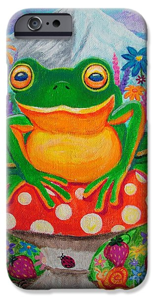 Frogs iPhone Cases - Big green frog on red mushroom iPhone Case by Nick Gustafson
