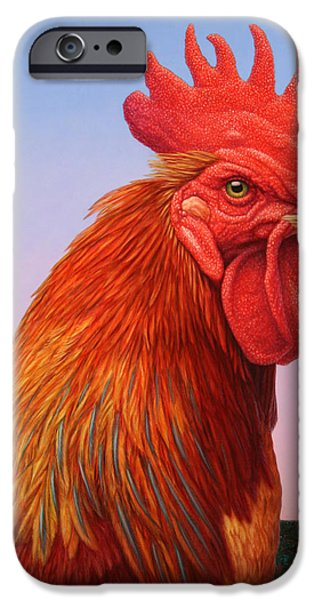 Fowl iPhone Cases - Big Red Rooster iPhone Case by James W Johnson