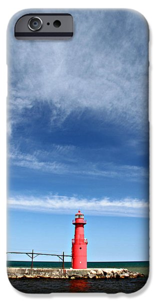 Big Sky Over Algoma Lighthouse iPhone Case by Mark J Seefeldt