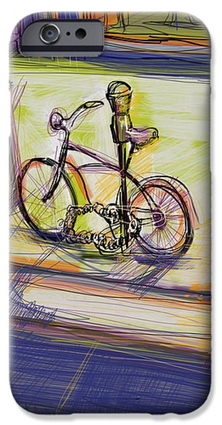 City Scape Mixed Media iPhone Cases - Bike at Rest iPhone Case by Russell Pierce
