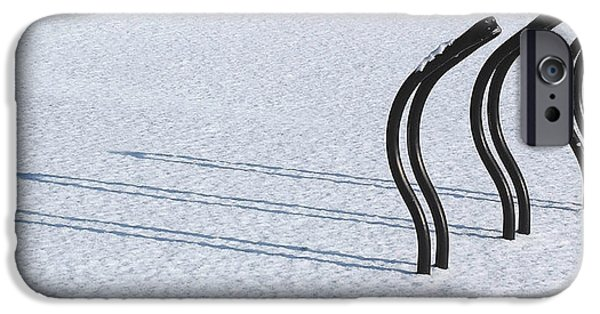 Bicycles iPhone Cases - Bike Racks in Snow iPhone Case by Steve Somerville