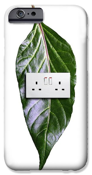 Electrical Socket iPhone Cases - Bioenergy, Conceptual Image iPhone Case by Victor De Schwanberg