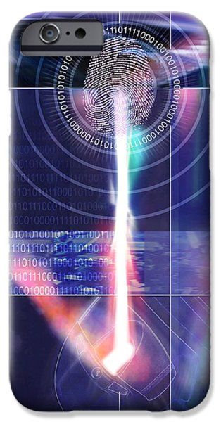 Civil Liberties iPhone Cases - Biometric Fingerprint iPhone Case by Pasieka