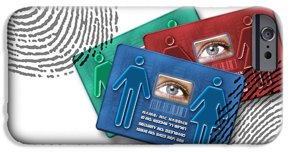 Civil Liberties iPhone Cases - Biometric Id Cards iPhone Case by Victor Habbick Visions