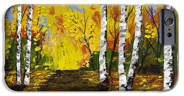 Tree Art Print iPhone Cases - Birch Trees and Road Fall Painting iPhone Case by Keith Webber Jr