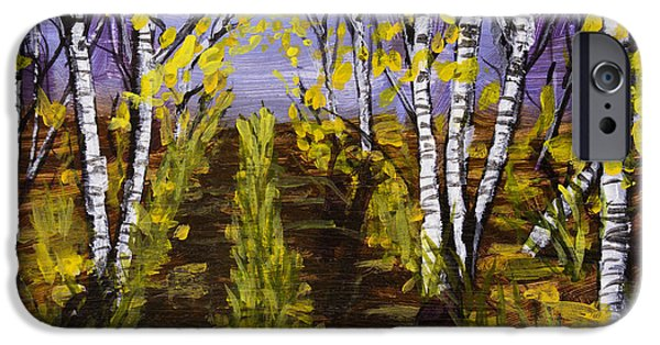 Tree Art Print iPhone Cases - Birch Trees And Road In Fall Forest Painting iPhone Case by Keith Webber Jr
