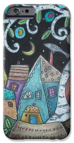 House Pastels iPhone Cases - Birch Village iPhone Case by Karla Gerard