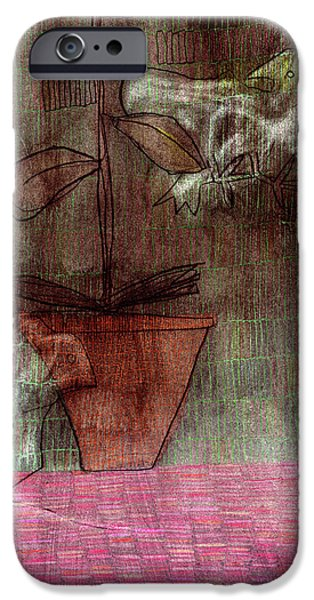 """indoor"" Still Life Drawings iPhone Cases - Bird Mouse and Plant iPhone Case by Anon Artist"