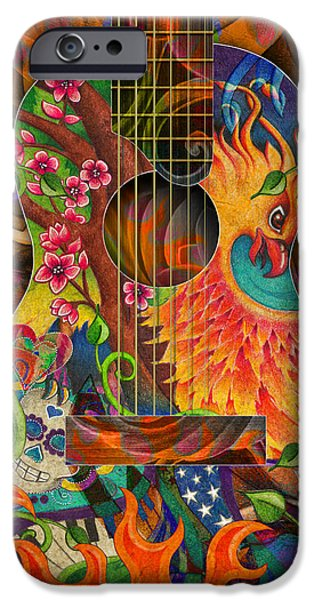 Cherry Blossoms Drawings iPhone Cases - Bird of Fire Guitar iPhone Case by Julie Oakes