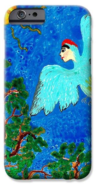 Sue Burgess Ceramics iPhone Cases - Bird people Green woodpecker iPhone Case by Sushila Burgess