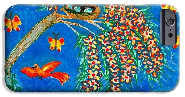 Sue Burgess Ceramics iPhone Cases - Birds and nest in flowering tree iPhone Case by Sushila Burgess