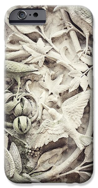 Stone Carving iPhone Cases - Birds of Peace iPhone Case by Lisa Russo